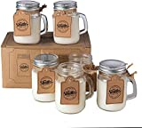 Smiths Mason Jars Lot de 6 Bougies au soja végétal à 100% dans des Mini-bocaux décoratifs 4 oz/120mL Mèche en Pur Coton Biologique sans Plomb, s'allumant jusqu'à 26 Heures et Plus par Bougie