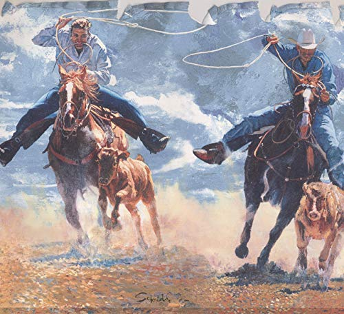 Retro Rodeo Cowboys Lasso Rope Hunting Wallpaper Border Vintage Design, Roll 15