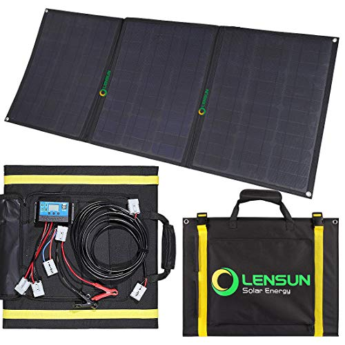 Lensun 100W Foldable Solar Panel Kit, 12V Ultralight Folding Solar Charger with USB Port Solar Controller and Cables for 12V Battery, Computer and Mobile Phone