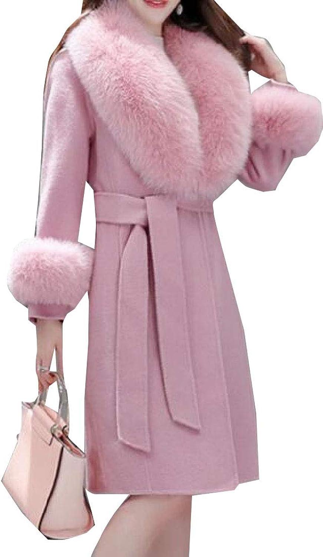 Maweisong Women's Fur Collar with Belt Pea Winter Wool Blend Outwear VNeck