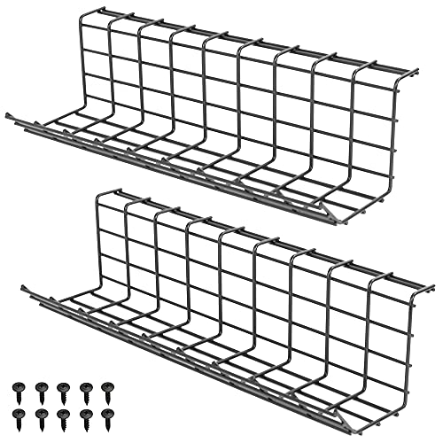 VIVO Iron Dual Under Desk 17 inch Cable Management Wire Racks, Power Strip Holders, Cord Organizers, Wire Management Trays for Office and Home, 2 Pack, Black, DESK-AC06-2B
