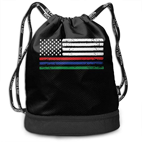 KLing Mochila de Lazo con Bandera Americana Azul roja Delgada línea Verde para Hombre y para Mujer, 100% poliéster Mochila Deportiva