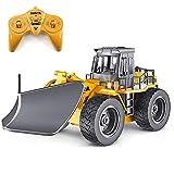 RC Camiones Control Remoto Quitanieves Escala 1:18 2.4G Aleación Juguete Tractor 4WD Nieve Sweeper Camionetas Función Simulación Completa Canal 6 para Los Niños