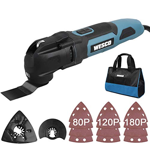 WESCO Oscillating Tool, 2.5 Amp Corded Oscillating Multi-Tool with 15 Accessories, Variable Speed Oscillating, 3.2°Oscillation Angle, Universal Fit System, Carry Bag/WS5123KU.1