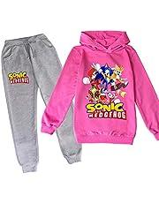 LIYIMING Sonic The Igel - Chándal con capucha y pantalones para niños, 2 unidades, suéter de algodón