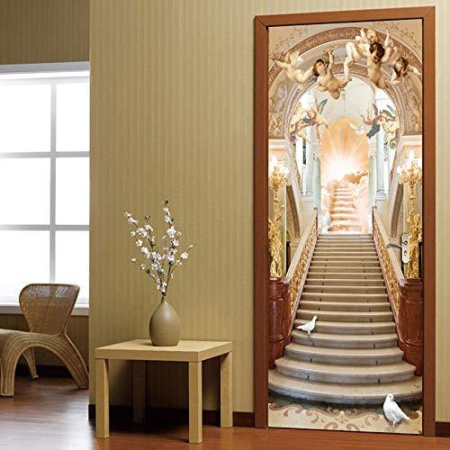Murales Para Puertas Escaleras De Ángel Autoadhesivas Estilo Europeo 3D A Prueba De Agua Papel Pintado Puerta Mural Pegatinas 95 X 215 cm