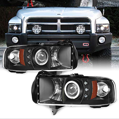 For Dodge Ram 1500/2500/3500 Pickup Black Dual Halo Ring LED Projector Replacement Headlights Left/Right