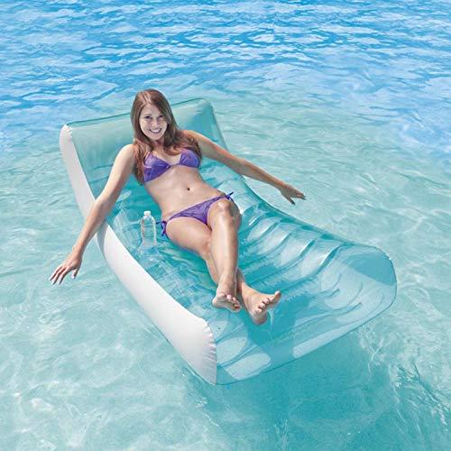 YIZHIYA Fila Flotante Inflable,188×99CM Cama Inflable Flotante Azul de la Hamaca de la Fila,Tumbona al Aire Libre del Flotador de la Piscina,Fiestas en la Piscina de Juguetes acuáticos de Verano