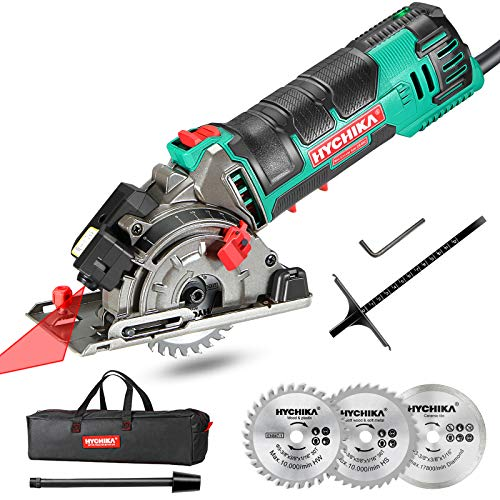 Mini Circular Saw, HYCHIKA Circular Saw with 3 Saw Blades,...