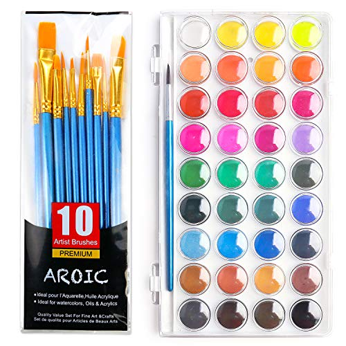 AROIC Watercolor Brush Set, with a Watercolor Paint, 36 Color,and a Package of 10 Brushes of Different Sizes, The Best Gift for Beginners, Children and Art Lovers.
