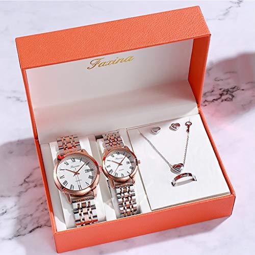 PIANAI Un par de Reloj Femenino Simple Reloj Masculino/Juego de 3 Piezas de joyería/Reloj de los Amantes/cinturón de Acero Impermeable Reloj de Cuarzo con Doble Calendario,B