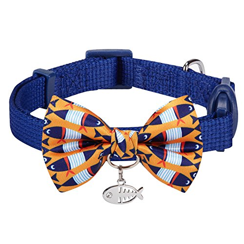 Blueberry Pet Pack of 1 Timeless Navy Blue Breakaway Adjustable Chic Fish Print Handmade Bow Tie Cat Collar with European Crystal Bead on Fish Charm, Neck 23cm-33cm Bow 6cm * 4.5cm