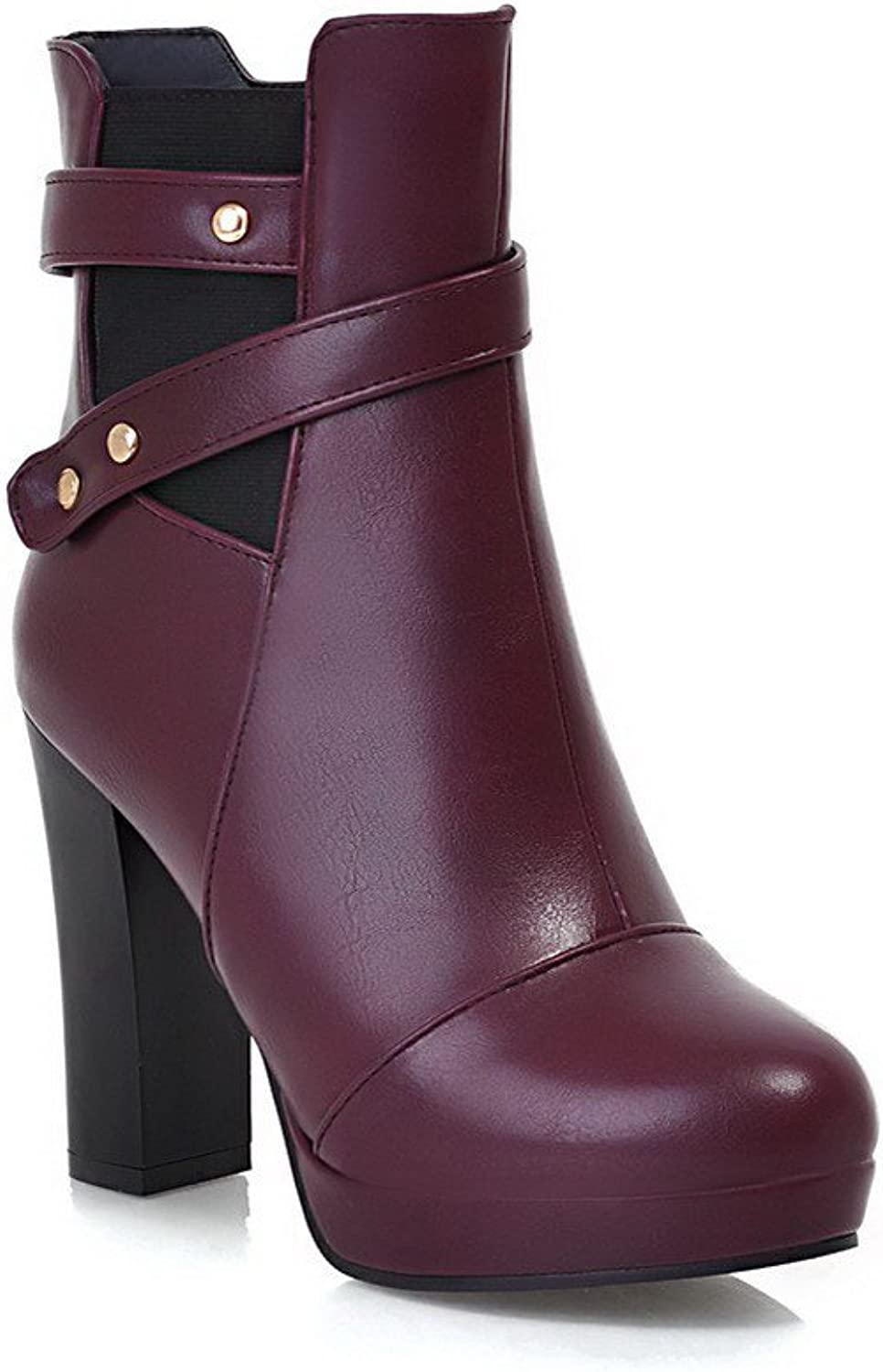 WeiPoot Womens Round Closed Toe High Heels PU Solid Boots with Belt Buckle
