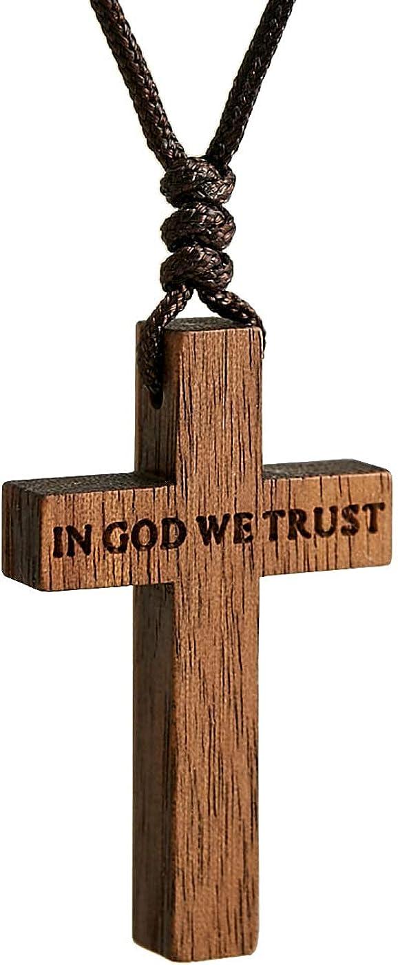 Wooden Cross Necklace for Men Women Children Kids – Natural Wooden Cross Pendant Necklace - Walnut Wood Small Cross Necklace