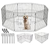 Pet Adore Pet Playpen with Door for Dogs, Rabbits, Puppies, and Pets, 61 to 122 cm, Indoor and Outdoor Crate Training Kennel or Exercise Play Area, Portable Pop Up Metal Cage (76 CM Medium)