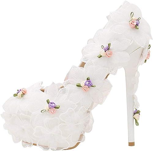 ZHRUI Ladies Hidden High Platform Stiletto Heels - Escarpins de mariée Blancs avec Fleurs - Royaume-Uni 7 (Couleuré   -, Taille   -)