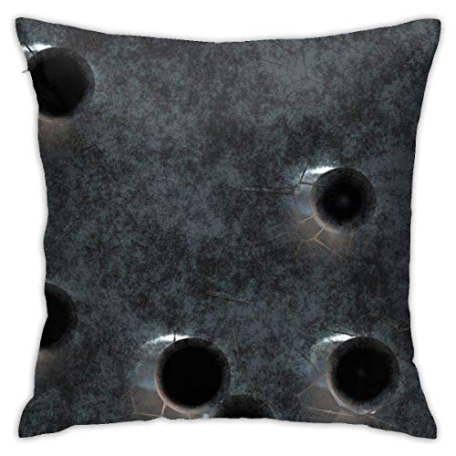 Traveler Shop Damaged Armor-Piercing Bullets Pattern Pillow Case Square Cushion Cover Home Sofa Decorative,18x18in