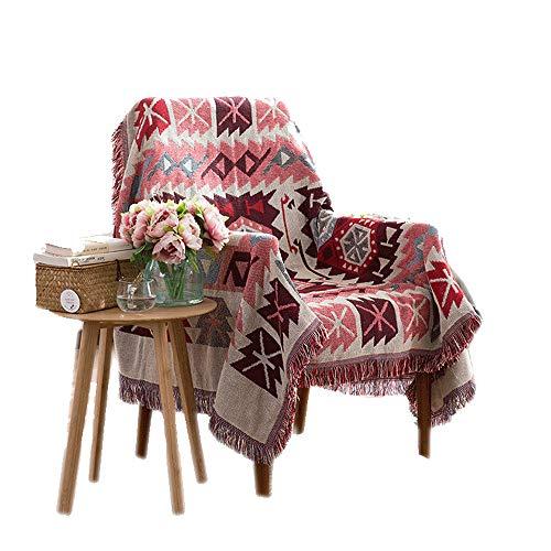 manta sofa,Manta de sofá antideslizante de viento nacional europea y americana, funda de sofá de punto con flecos de cuatro estaciones de doble cara -130 * 180 cm