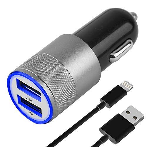 MMOBIEL Juego de Cargador de automóvil/Coche con Cable USB y 2 Puertos USB (Adaptador + Micro USB Negro) 2 USB Port 2.1A + 1.0A Compatible con Samsung S5/S4/S3