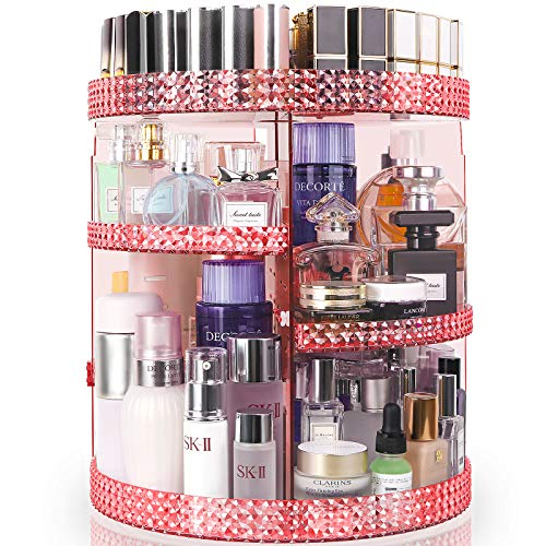 HEMTROY Rotating Makeup Organizer 360 Degree, 7 Layers Adjustable Storage For Cosmetics,Perfume,Plus Size, Large Capacity Cosmetic Storage Organizer Best for Bathroom,Countertop and Vanity, Pink