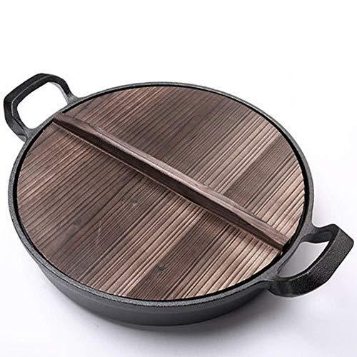 Art Jian Poêle en Fonte Patron Pan Wok s'épaissir ménager antiadhésives Poêle Classique, Cooker crêpes universelles, ustensiles de Cuisine Réfractaires,B,30cm