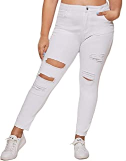 Women Plus Size Ripped Stretch Skinny Jeans, High Rise...