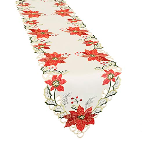 Grelucgo Large Christmas Holiday Embroidered Poinsettia Table Runners 15x144 inch