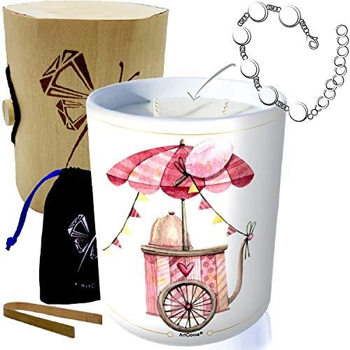 Vela con joya de plata decorada con cristales de Swarovski® • Vela de 2 mechones de decoración de regalo, perfumada en Barba a PAPA (pulsera sorpresa)