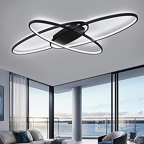 Lámpara de techo LED Oval Regulable para Sala de estar Luces de techo de 3 Anillo de Diseño Moderno Negro con Mando a distancia Luz de techo L95CM Hecho de Metal y Silicona, 46W