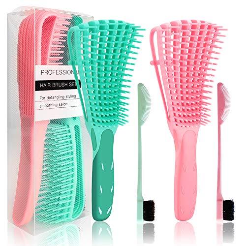 Ertisa Haarbürste Entwirrungsbürste für Naturhaar, 2 Stück Detangling Brush für Afro-Haare 3a bis 4c Verworrenes Welliges Haar, Entwirrer leicht mit Nass/Trocken Stylingbürste zur Haarentwirrung