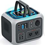 Portable Power Station 500Wh, WattFun Solar Generator for Camping Backup Lithium Battery with Dual 110V AC Outlet, Wireless Charging, Type-C Port, 4 USB Ports for Outdoors Travel Home Emergency