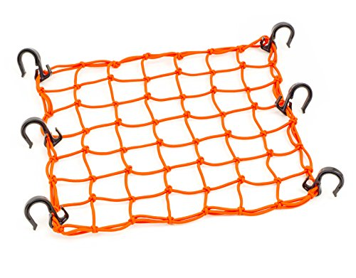 Powertye 50159 Orange 15X15 Cargo Net Featuring 6 Adjustable Hooks & Tight 2x2 Mesh