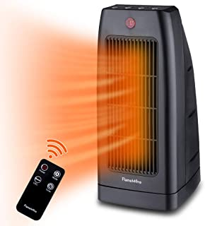 FLAMEMORE Portable Space Heater with Remote Control 7H Timer Indoor Oscillating Electric Ceramic Tower Heater with Tip-over & Overheating Safety Cut-off for home & office 1500W Black
