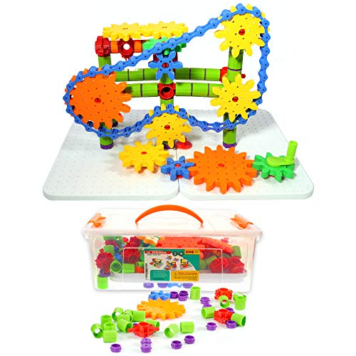 ETI Toys | STEM Learning | 192 Piece Jumbo Gears Set with Resizeable Interlocking Chain, Connector...