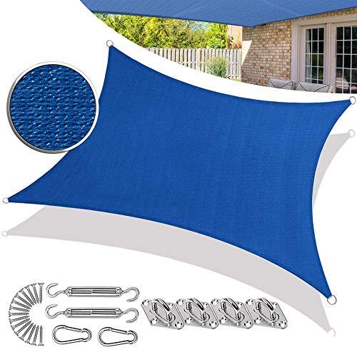 SUNDUXY Blau Sonnensegel Sonnenschutz Windschutz | HDPE Gewebe | wasserabweisend & windabweisend, Sonnensegel Zubehör Sonnenschutz Montage Kit,Blau,2.5x3.5m