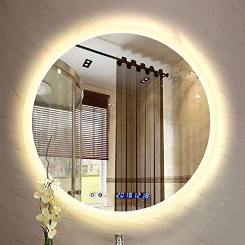 XQAQX Espejo de Baño Espejo Maquillaje Espejo de tocador Exhibición antiniebla iluminada Redonda del Tiempo de la Temperatura del Control de Tacto del Maquillaje del Cuarto de baño del LED