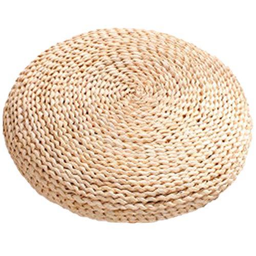Chytaii - Cojín de suelo, diseño de paja, redondo, puf de ratán, hecho a mano, alfombra de yoga, decoración para salón de jardín