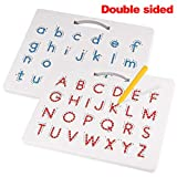 Apfity Magnetic Drawing Board, Magnetic Alphabet Letter Tracing Board Educational ABC Letters Read Write Learn Preschool Toy for Boys and Girls