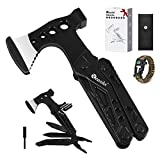 Reesibi Multitool, 15 in 1 Camping Accessories with 1 Survival Bracelet for Hiking Hunting Household, Foldable Hammer Axe Plier Knife Bottle Opener Emergency Whistle Survival Equipment, Gifts for Men