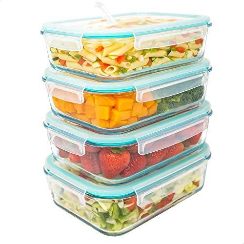 LG Luxury & Grace Lot de 4 Boîtes Alimentaires en Verre 1500 ML. Récipient Hermétique avec Valve de Vapeur. Boîtes de Conservation pour Micro-Ondes, Four, Lave-Vaisselle et Congélateur. sans BPA.