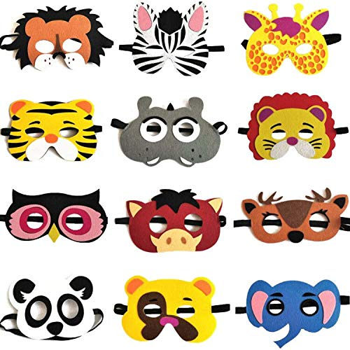 12 Pieces Animal Masks Felt Masks Children's Foam Masks With Elastic Rope For Birthdays, Stage Performances, Theme Parties