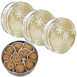 Becky´s Galletas de mantequilla Danish Butter Cookies/mantequilla danesa, en lata dorada con copos de nieve, 3 x 454 g