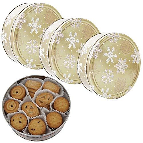 Danish Butter Cookies / Dänische Butter Kekse - Gebäck in goldener Dose mit Schneeflocken - 3 x 454 g