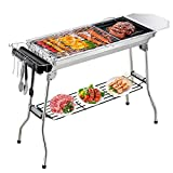 Gifort <span class='highlight'>Charcoal</span> Barbecue Grill, Stainless Steel <span class='highlight'>BBQ</span> <span class='highlight'>Charcoal</span> Portable Folding Grill for Outdoor Party Garden Camping