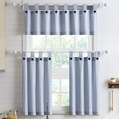 """Short Curtains 36 Inches Long for Kitchen Window Tab Top of 3 Pieces Cafe Curtains for Smart Half Window 56"""" x 36"""", Navy"""