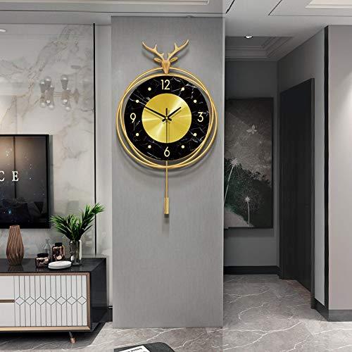 AD&HD Reloj de Pared de Péndulo Europeo, Silencio Columpio Colgando Reloj de Pared Cobre Cabeza de venado De Pilas para Sala Dormitorio Cocina (Color : Copper, Talla : 50x31cm(19.6x12.2inch))