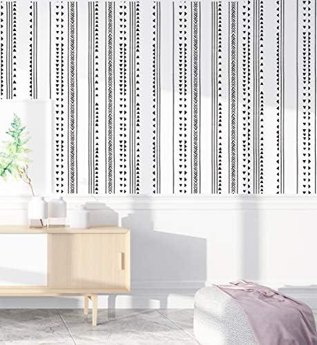 HaokHome 96021 1 Modern Triangle Peel and Stick Wallpaper Arrow Trellis Black White Vinyl Self product image