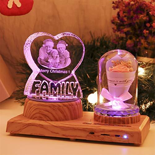 Personalisierte FAMILIE Nachtlicht 3D Kristalllampe Benutzerdefiniertes Foto Bild Graviert Led Light 7 Farbe mit Bluetooth Rose Wood Base Personalisiertes Geschenk für Frauen Familie