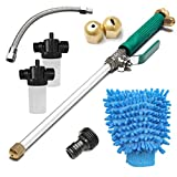 CAVEEN Hydro Jet High Pressure Power Washer Wand for Garden Hose, Flexible Extendable Water Nozzle Sprayer for Home Garden Car Washing Glass Window Cleaning, 8 Set