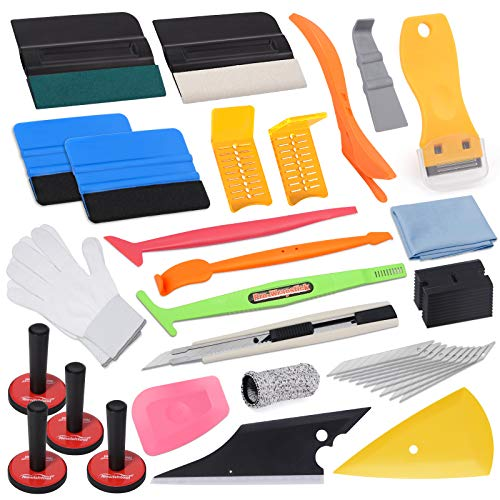 Pro Vinyl Wraps Applicator Tool Kit Window Tint Car Wrapping Film Tools Includes Felt Squeegees, Plastic Scraper, Knife and Blades, Magnetic Holders, Cleaning Cloth, Gloves and Finger Sleeve